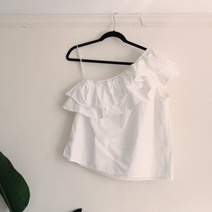White One Shoulder Ruffle Blouse